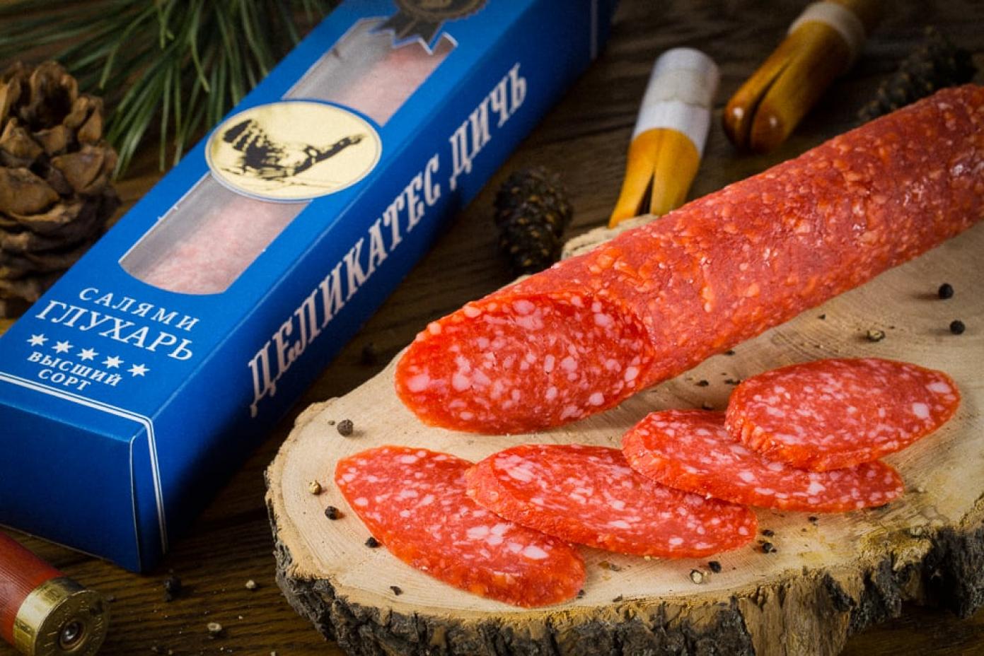 Колбаса салями из мяса Глухаря в подарочной упаковке