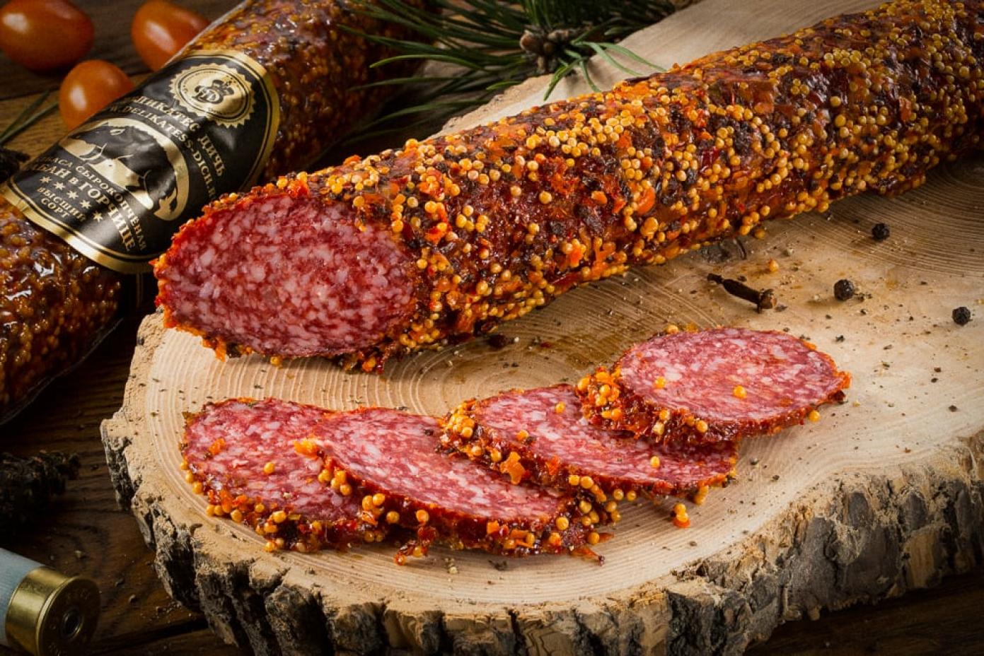 Колбаса из мяса Кабана с горчицей