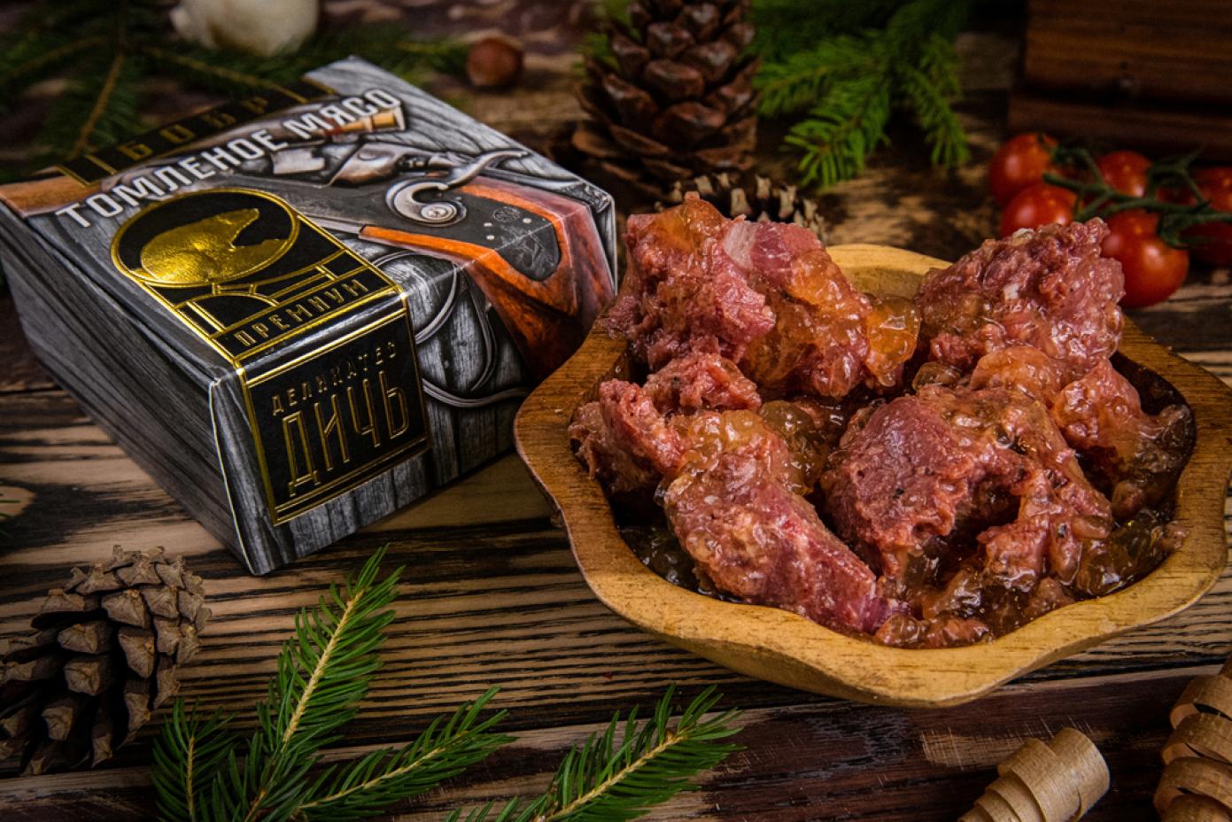 Томленое мясо Бобра в подарочной упаковке премиум