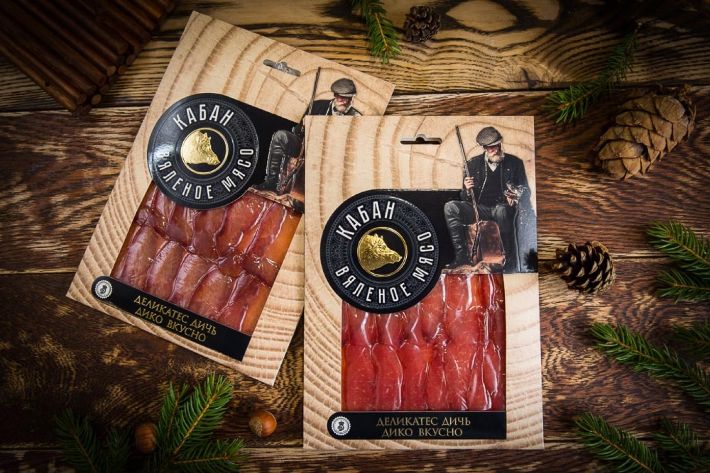 Нарезка из вяленого мяса Кабана в подарочной упаковке 100г